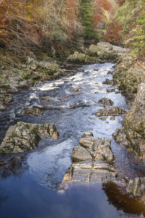 Gorge on the Findhorn River at Moray in Scotland. Stock Photo