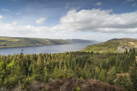 Loch Ness view from Farigaig in Scotland. Stock Photo - 73447184