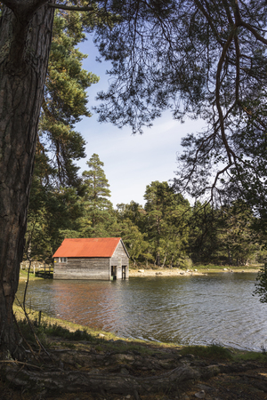 lochs: Boathouse at Loch Vaa in the Cairngorms National Par of Scotland.