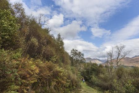 Hikers in Glen Creran forest in the Highlands of Scotland.
