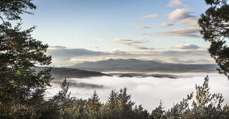 craig: Mist on Beauly Firth from Craig Phadrig in Inverness, Scotland.