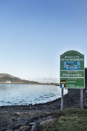 Welcome sign for the City of Inverness in Scotland. Stock Photo