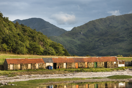 Old Fishermans huts at Corran by Loch Hourn in Scotland.