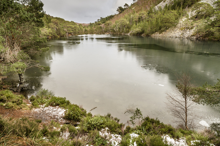 strathspey: Uaine Lochan , the Green Loch in the Cairngorms National Park of Scotland.