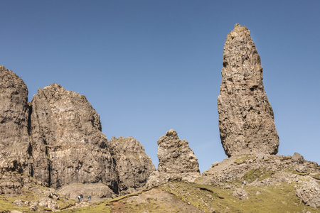Storr rockface and pinnacles near Portree on the Isle of Skye in Scotland. Stock Photo