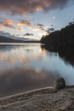 Evening light on Loch Garten in the Cairngorms National Park of Scotland. Stock Photo