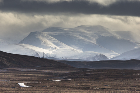 Snowstorm over the Cairngorm Mountains from Dava Moor in Scotland.
