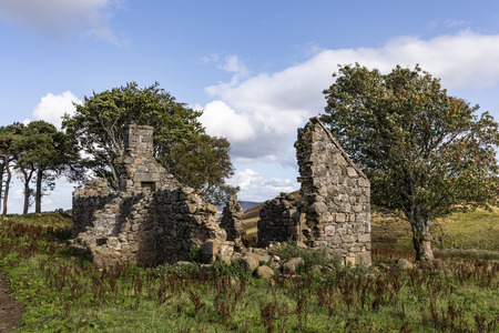 Ruins of Croft at Moss of Tolophin near Auchindoir in Aberdeenshire, Scotland.