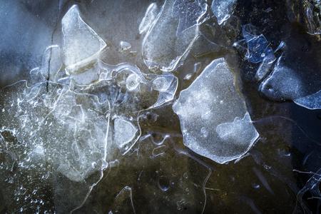 Ice Pattern on Loch Garten in the Highlands of Scotland.