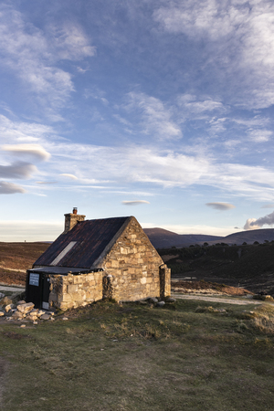 The Ryvoan shelter bothy on the Ryvoan pass in the Cairngorms National Park of Scotland. Stock Photo