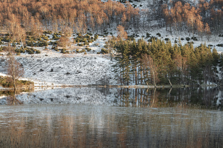 Loch Pityoulish in Winter at the Cairngorms National Park of Scotland.