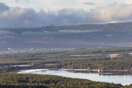 View over Loch Morlich in the Cairngorms National Park of Scotland. Stock Photo