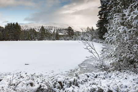 Uath Lochan in Winter at Glen Feshie in the Cairngorms National Park.
