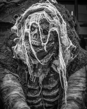 Costumed skeleton portrait, Halloween Zombie Crawl