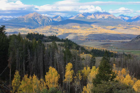 overlook: Scenic mountain overlook near Silverthorn, Colorado, in autumn