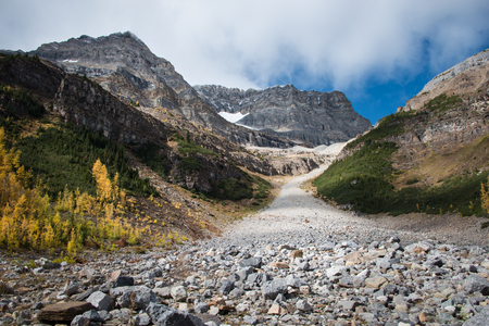Hiking Plain of Six Glaciers trail in Lake Louise, Banff National Park, Canada