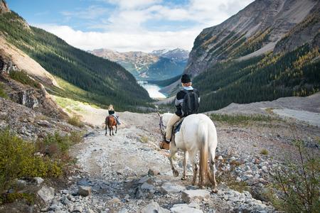 Horseback riding to Plain of Six Glaciers, Lake Louise, Banff National Park