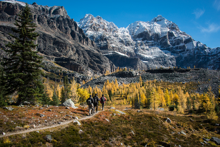 Hiking at Lake OHara in autumn, Yoho national Park, Canada