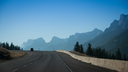 Driving from Banff National Park to Calgary in Canada