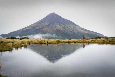 Hiking in Mount Taranaki in the rain, Egmont National Park