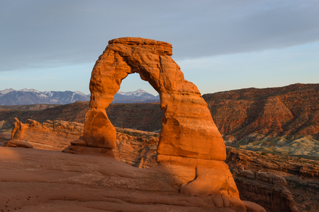 Golden Sunset at Delicate Arch in Arches National Park, Utah, USA Stock Photo
