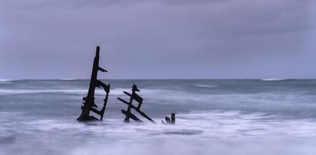 Shipwrecks of Gairloch, Taranaki, New Zealand Stock Photo