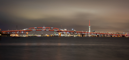 Auckland Harbour Bridge lit up for Auckland Anniversary to celebrate the citys birthday Stock Photo