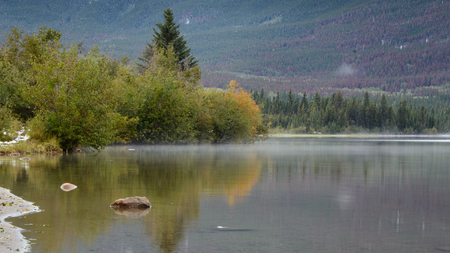 Patricia Lake with mist floating at the lake surface and autumn colours reflected in the lake, Jasper National Park, Canada