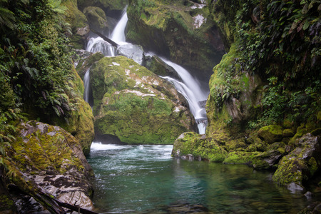 Exquisite Mackay falls is located in day four of the Milford Track