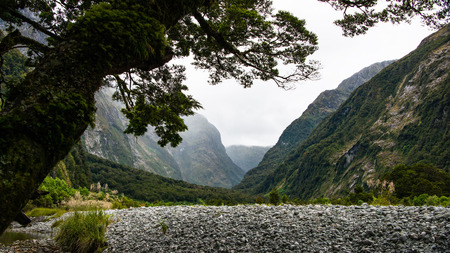 Tranquil scenery of glacier carved deep valleys on the Milford Track Stock Photo
