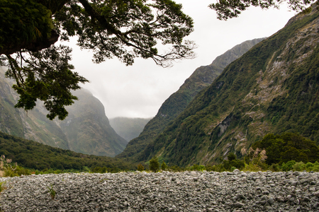 Beautiful scenery of glacier carved deep valleys on the Milford Track