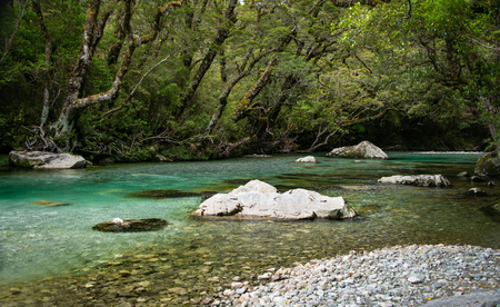 Beautiful Clinton river on the Milford Track Stock Photo