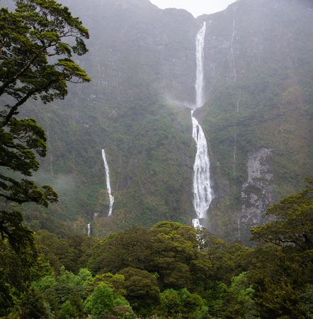 Thundering Sutherland Falls near Milford Sound on the Milford Track