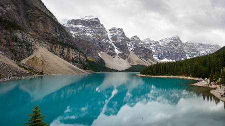 Panoramic view of the Moraine Lake in Banff National Park, Alberta Canada Stock Photo