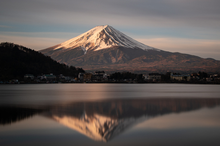 Mount Fuji reflected in Lake Kawaguchi at Sunrise