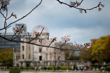 The Hiroshima Peace Memorial, originally the Hiroshima Prefectural Industrial Promotion Hall, framed by Cherry Blossoms in spring Foto de archivo - 125502047