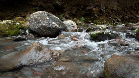 Water flowing along the stream in Taranaki Falls track in Tongariro National Park