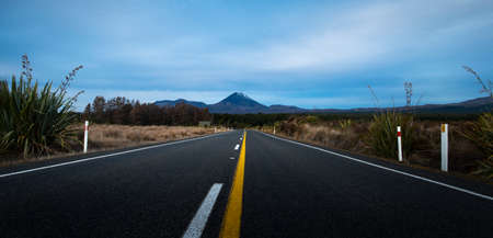View from the centre of the road towards Mt Ngauruhoe in Tongariro National Park, New Zealand