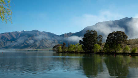 Lake Benmore in the mist, Canterbury, New Zealand
