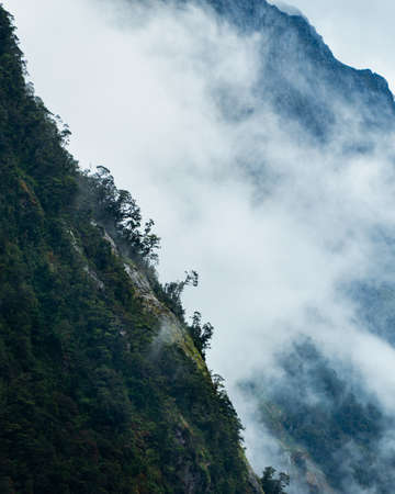 Rolling mountains in the mist in Milford Sound, South Island. Vertical format