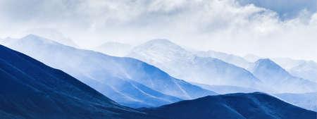 Panorama image of rolling landscape of Ben Ohau Range, Twizel, South Island