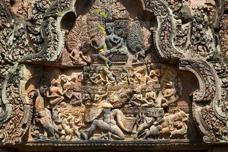 stone carving: Stone Carving in Banteay Seri Stock Photo