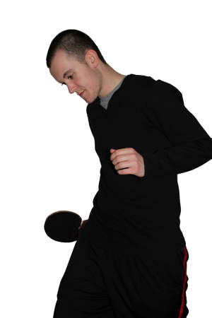 Young man with table tennis paddle photo