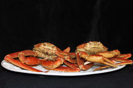 crab pot: Steam rising from boiled crab just out of the pot Stock Photo