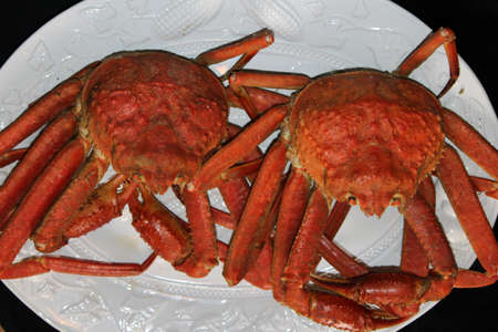 Top view of steamed crab on a white platter