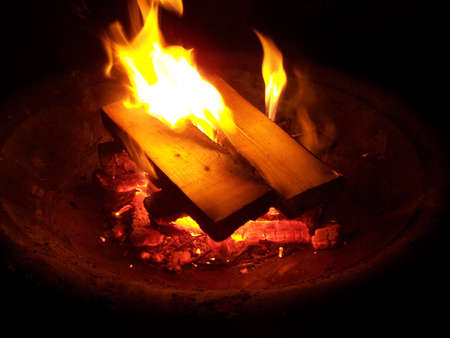 Wood burning in a fire pit photo