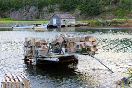 lobster pots: Lobster pots, an old shed and speed boats
