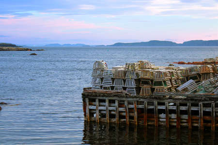 lobster pots: Lobster pots on a wharf Stock Photo