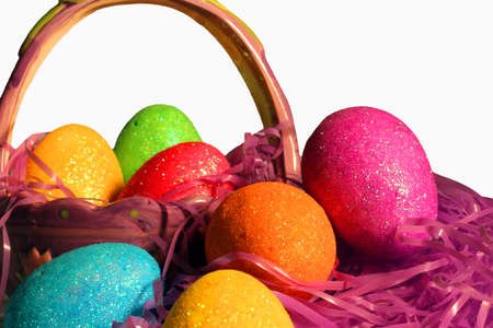 sparkly: colorful sparkly Easter eggs in a basket Stock Photo
