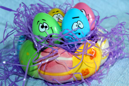 funny faces: Plastic Easter eggs with funny faces Stock Photo